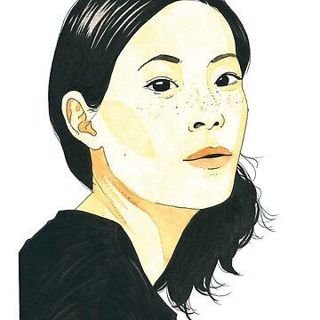 Lucy Liu Watercolor by artofsen