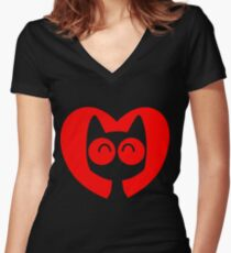 Cute Cartoon Cat In A Heart by Cheerful Madness!! Women's Fitted V-Neck T-Shirt