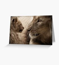 Close-up of a male lion and its cub Greeting Card