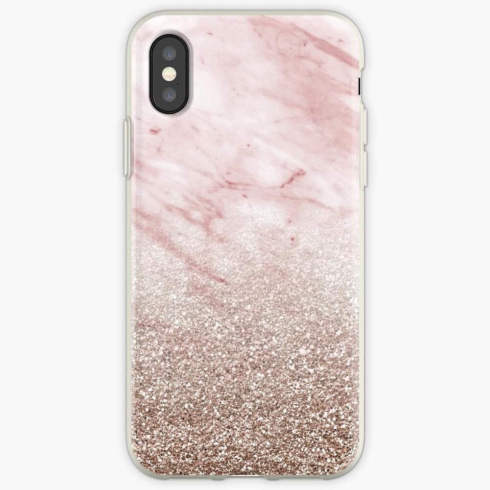 Gradiente de oro rosa champán brillo Funda y vinilo para iPhone