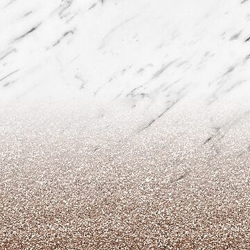 Glitter ombre - white marble & rose gold glitter by marbleco