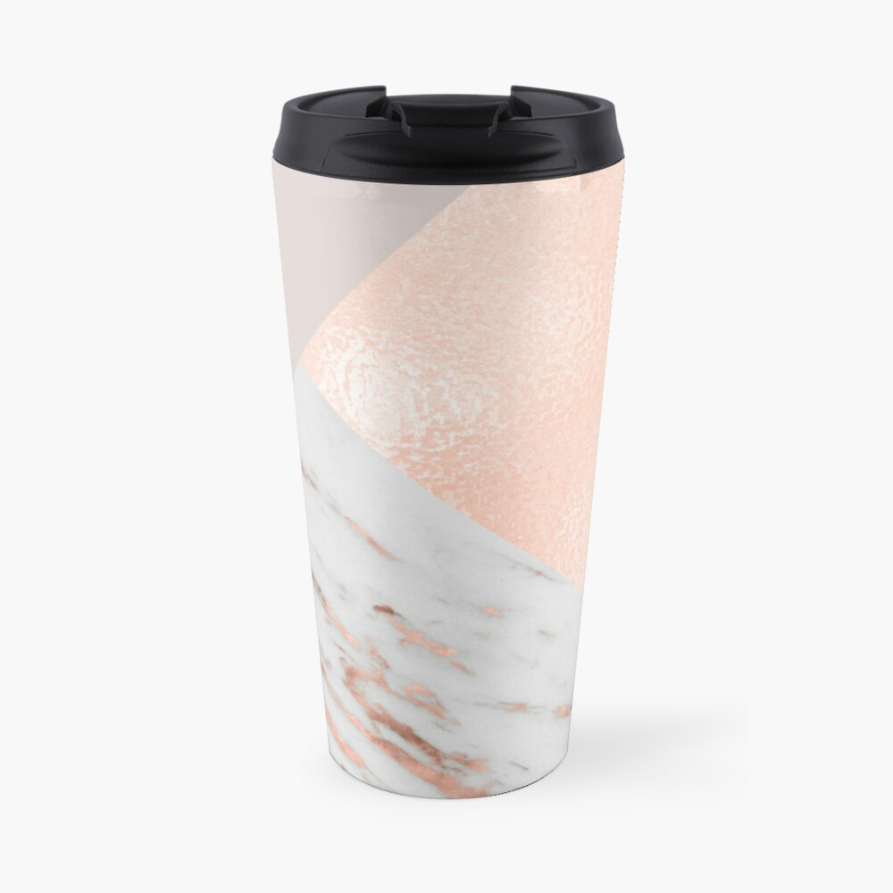 Blush pink layers of rose gold and marble Travel Mug