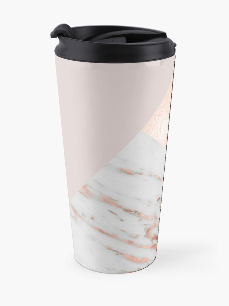 Alternate view of Blush pink layers of rose gold and marble Travel Mug