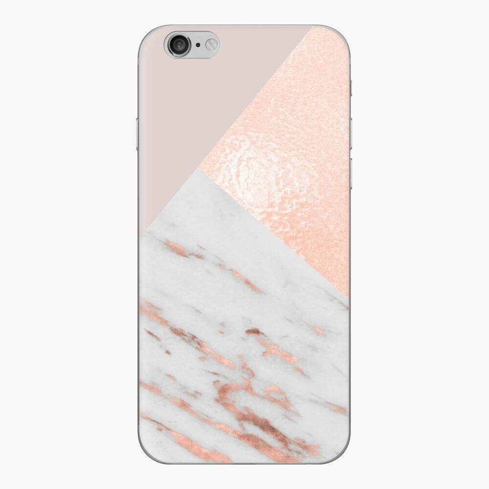 Erröten rosa Schichten von Roségold und Marmor iPhone Klebefolie
