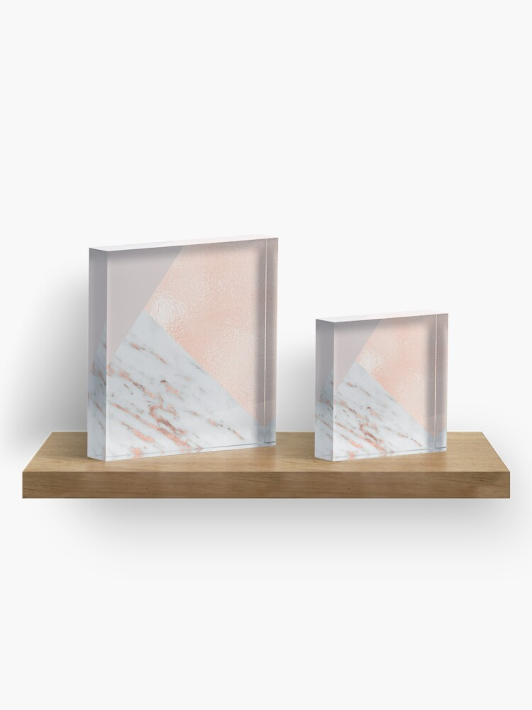 Alternate view of Blush pink layers of rose gold and marble Acrylic Block
