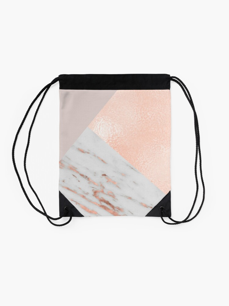 Alternate view of Blush pink layers of rose gold and marble Drawstring Bag