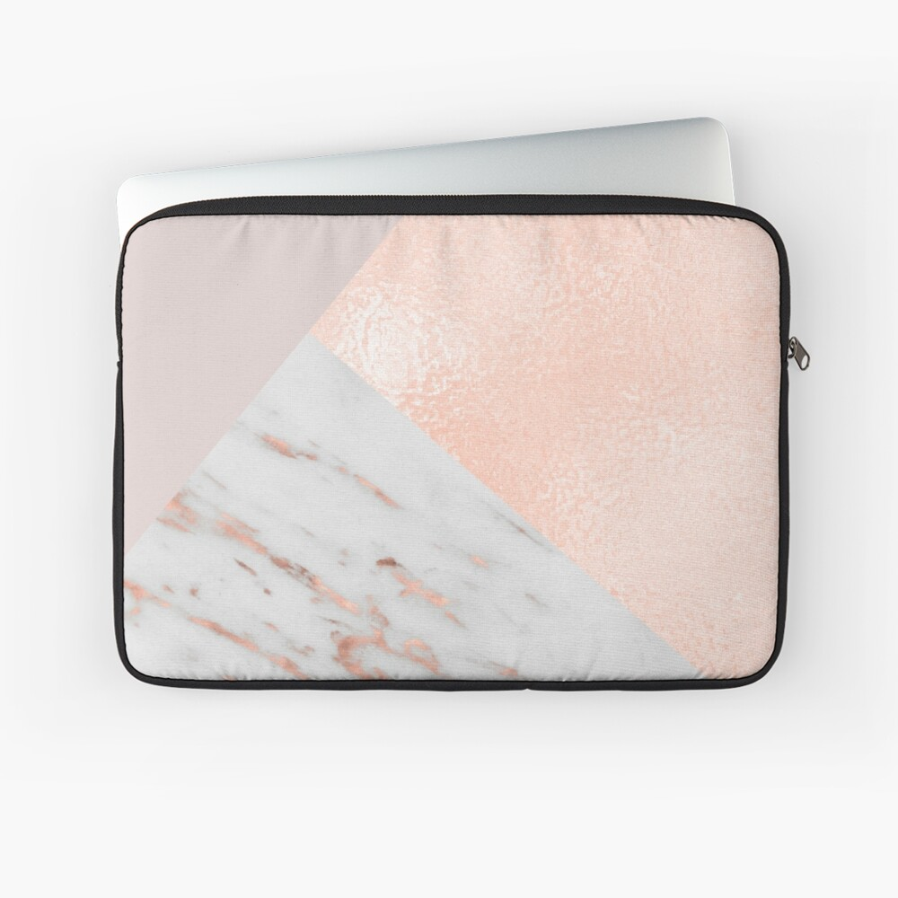 Blush pink layers of rose gold and marble Laptop Sleeve
