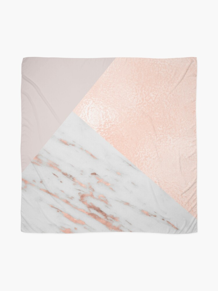 Alternate view of Blush pink layers of rose gold and marble Scarf