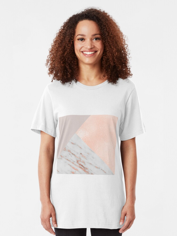 Alternate view of Blush pink layers of rose gold and marble Slim Fit T-Shirt