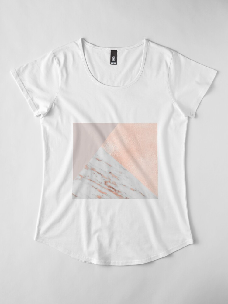 Alternate view of Blush pink layers of rose gold and marble Premium Scoop T-Shirt