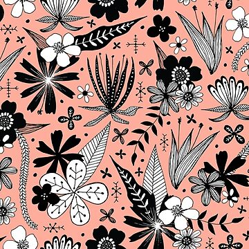 black and white floral on warm pink by swoldham