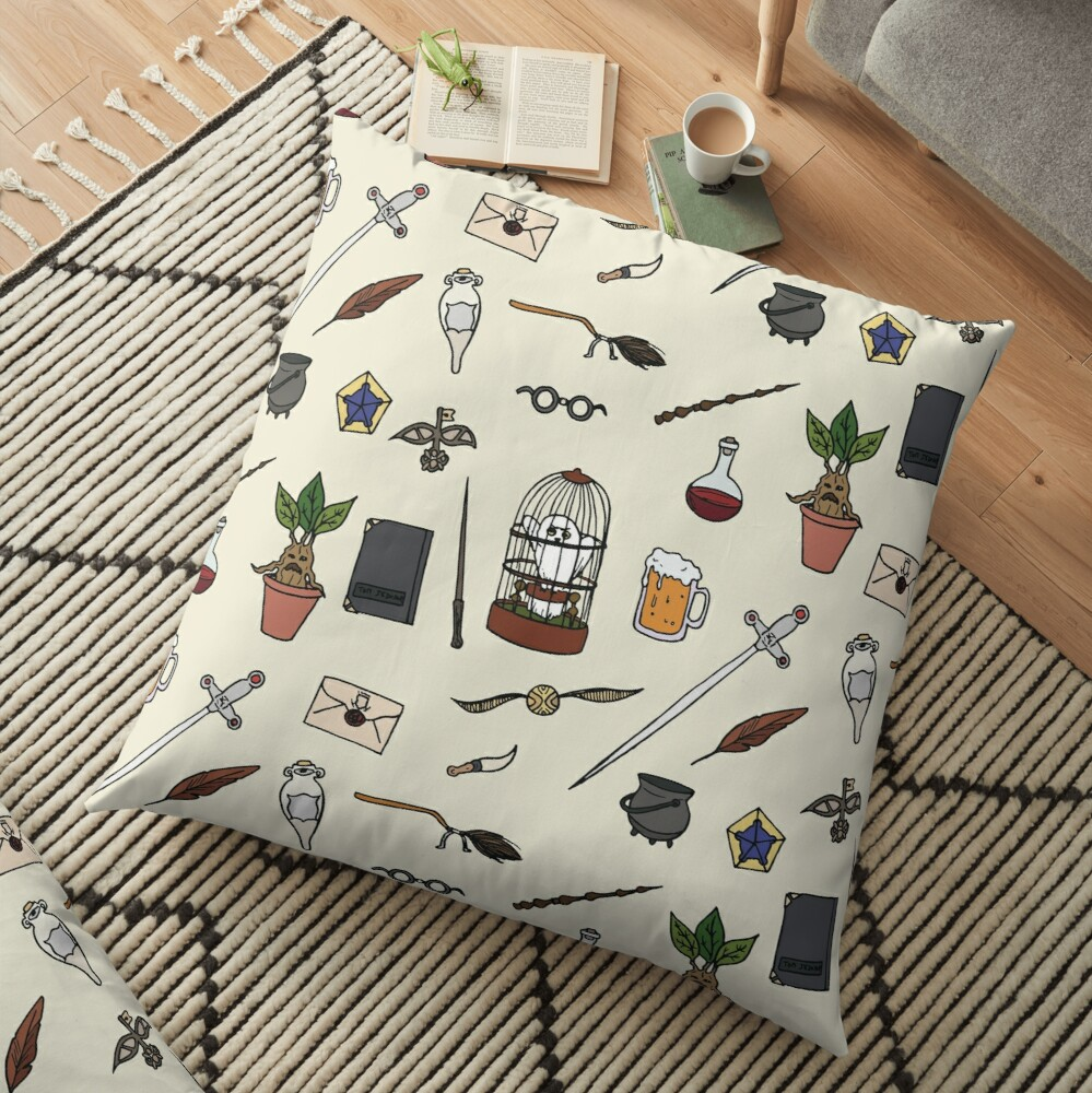 Owl and wand Floor Pillow