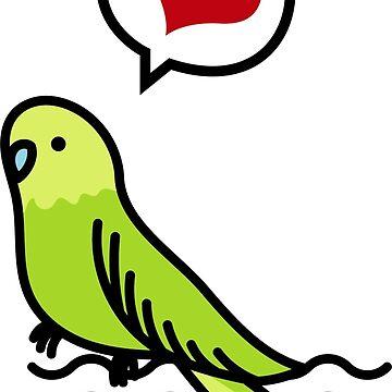 Budgie Bird Gift Heart Love Parrot Bird Mom Pets by Rueb