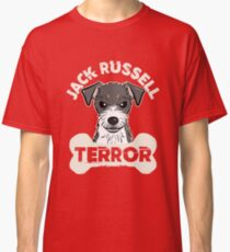 Jack Russell Terrier Terror Funny Dog Pet Animals Black & White Classic T-Shirt