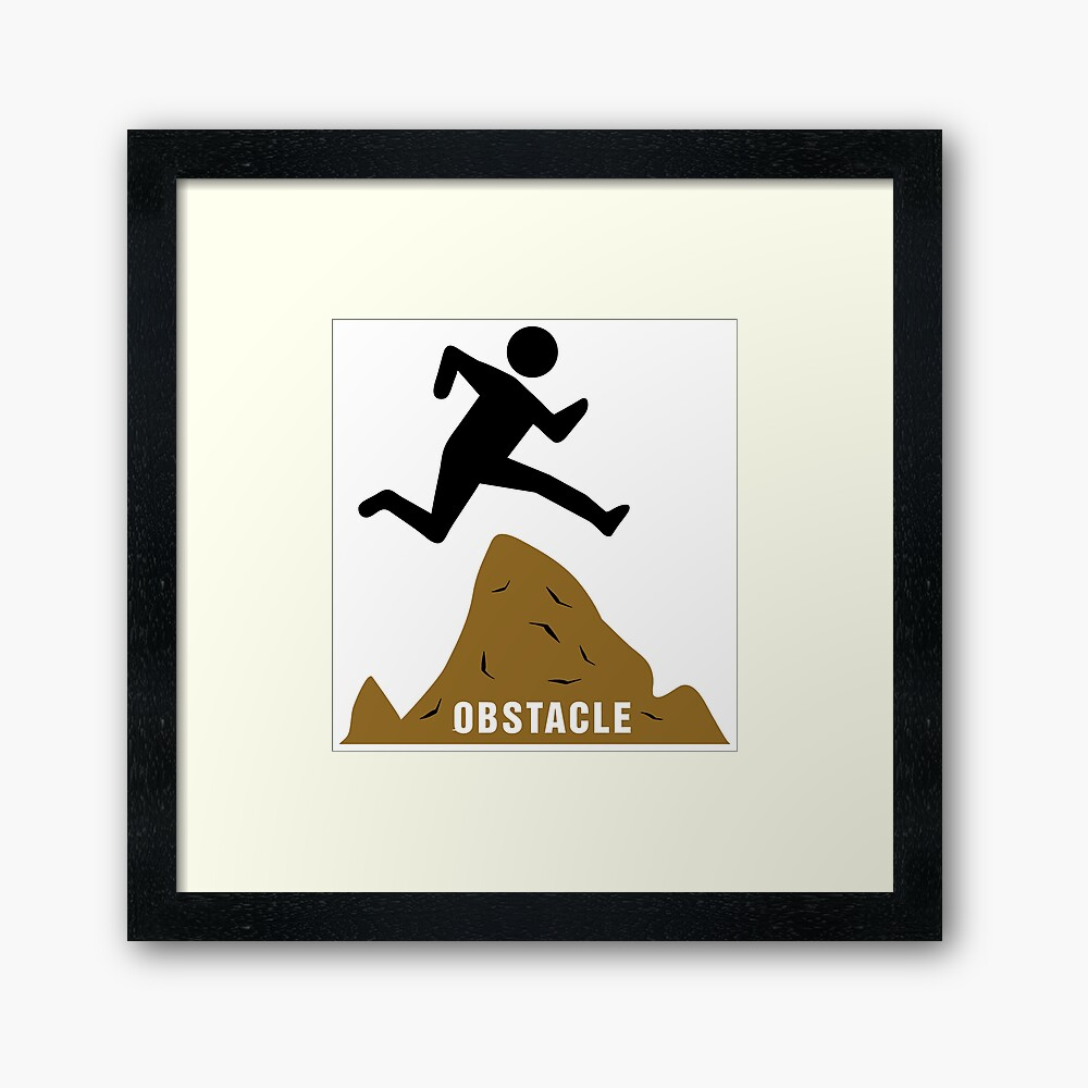 Stickfigure Jumping Over Obstacle Framed Art Print