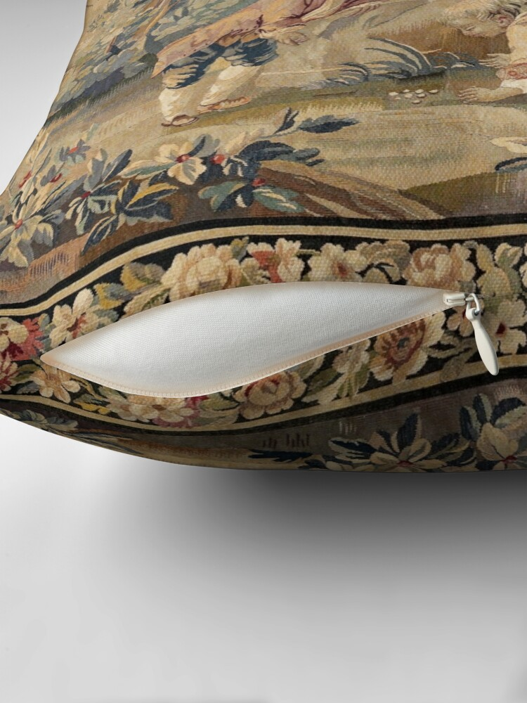 Alternate view of Aubusson  Antique French Tapestry Throw Pillow