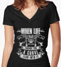 motorcyclist Women's Fitted V-Neck T-Shirt
