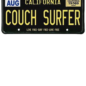 California Couch Surfer Classic license plate by GUS3141592