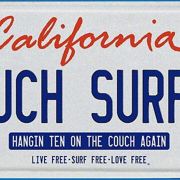 California Couch Surfer License Plate by GUS3141592