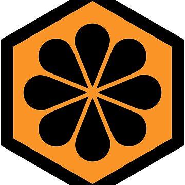 Geometric Pattern: Hexagon Flower: Orange/Black by redwolfoz
