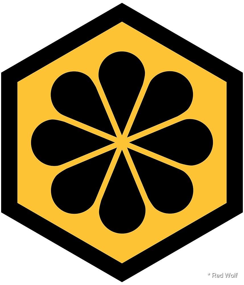 Geometric Pattern: Hexagon Flower: Yellow/Black by * Red Wolf