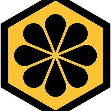 Geometric Pattern: Hexagon Flower: Yellow/Black by redwolfoz