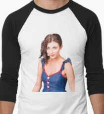 Retro pin-up girl in blue denim dress Baseball ¾ Sleeve T-Shirt
