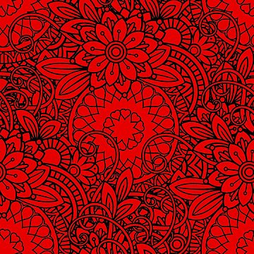 Red Floral Pattern by madtoyman