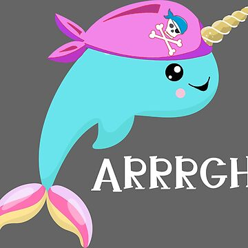 Narwhal Pirate pink tones by riverportgifts