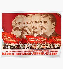 Marx, Engels, Lenin und Stalin, Propaganda von 1953 Poster
