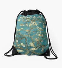 Blossoming Almond Tree, famous post  impressionism fine art oil painting by Vincent van Gogh.  Drawstring Bag