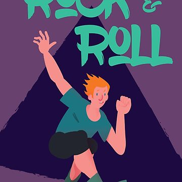 Expressive guy on rollerblades 'Rock and Roll' by arsvik