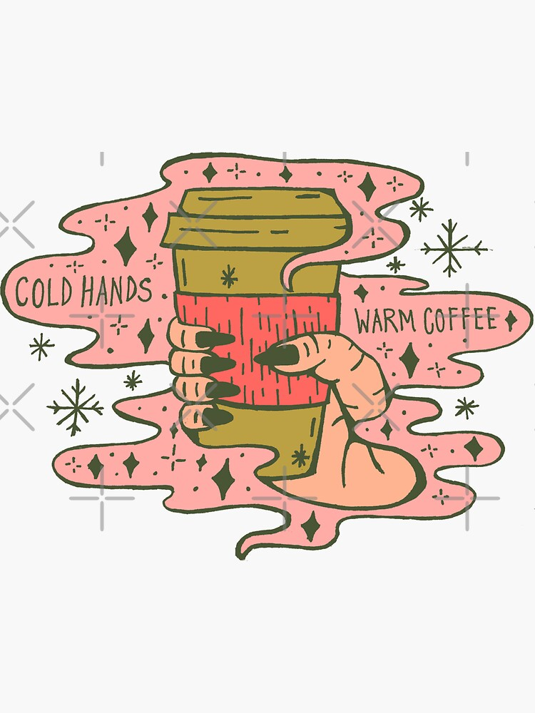 Cold Hands, Warm Coffee in Coral by doodlebymeg