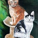 oilpainting :  My lovely cats by ienemien