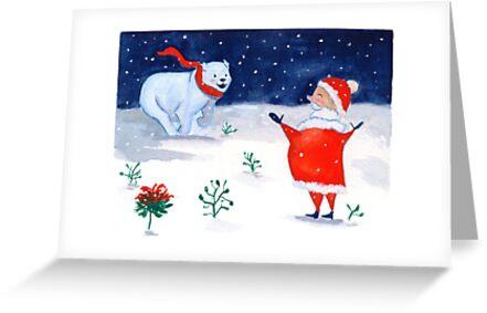 « Carte de vœux Ours et Père Noël  » par cindybarillet