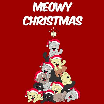 Meowy Christmas Cats Tree by BossBabeArt