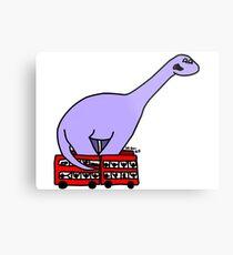 Dinosaur on 4 Double Decker Buses Metal Print