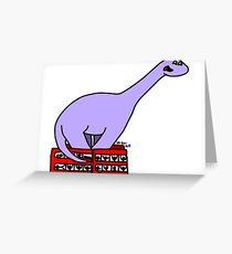 Dinosaur on 4 Double Decker Buses Greeting Card