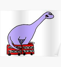 Dinosaur on 4 Double Decker Buses Poster