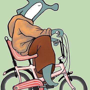 Hammerhead Shark on a Banana Bike Retro Illustration by kikoeart