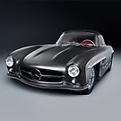 1955 Mercedes-Benz 300SL Gullwing Coupe gray luxury retro car art photo print by ArtNudePhotos