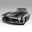 1955 Mercedes-Benz 300 SL Gullwing Coupe grey luxury retro car art photo print by ArtNudePhotos