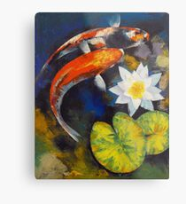 Koi Fish and Water Lily Metal Print