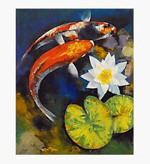 Koi Fish and Water Lily Photographic Print
