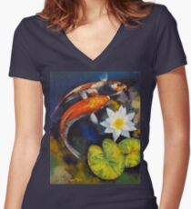Koi Fish and Water Lily Women's Fitted V-Neck T-Shirt