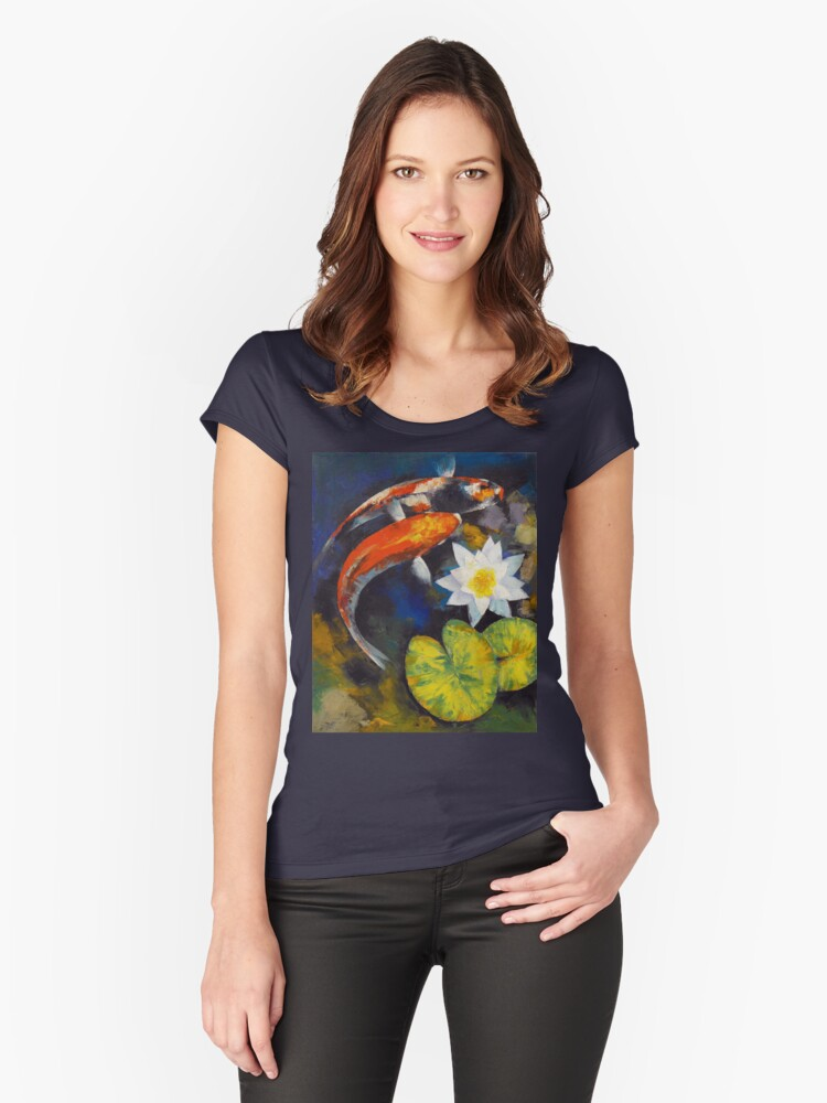 Koi Fish and Water Lily Women's Fitted Scoop T-Shirt Front