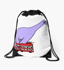 Dinosaur on 4 Double Decker Buses Drawstring Bag