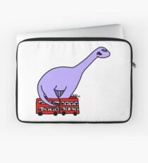 Dinosaur on 4 Double Decker Buses Laptop Sleeve