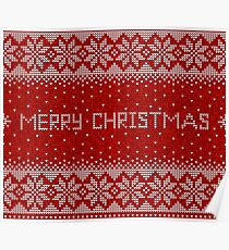 Red and white christmas seamless pattern background Poster