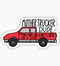 Pegatina brillante Madre camionero amigo